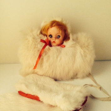 Childs Fur Muff With Dolls Head And Gloves