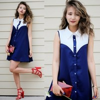 Contrast Sleeveless Swing Shirt Dress
