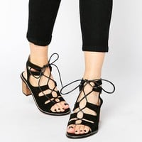 Park Lane Gladiator Heeled Suede Sandals