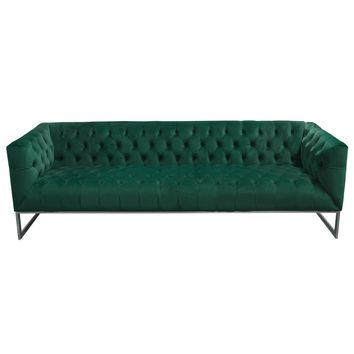Crawford Tufted Sofa in Emerald Green Velvet w/ Polished Metal Leg & Trim