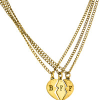Antique Goldtone Three Best Friend Forever Broken Heart Pieces Pendant with an 18 Inch Adjustable Necklaces