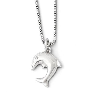 Diamond Dolphin Necklace in Rhodium Plated Sterling Silver, 18-20 Inch