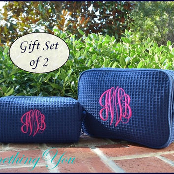 Personalized Cosmetic Bag Gift Set of 2 Large and Small Size Bags -  Navy Blue Monogrammed makeup bags, bridesmaids cosmetic bags, monogram