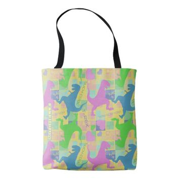 Personalized T Rex Party Yellow Tote Bag