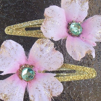 Pink and Gold Dogwood Hair Clips with Green Gem Centers