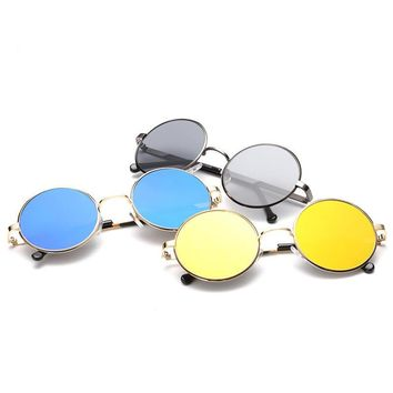 Steampunk Sunglasses Women Metal Round Shades fashion beach Designer Sun glasses Mirror High Quality for female
