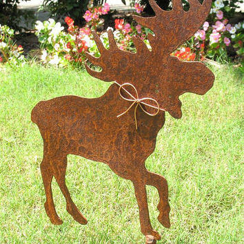 Moose Metal Garden Stake Yard Art Rustic Rusty