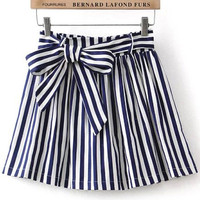 Blue and White Lace up Waist  Striped Skirt