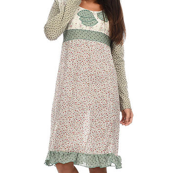 Ian Mosh Green & Water Pink Floral Tie-Back Empire-Waist Dress | zulily