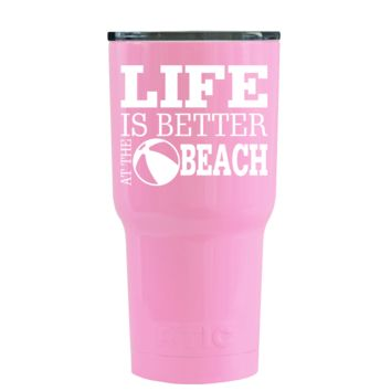 RTIC 20 oz Life Is Better At The Beach on Pretty Pink Beach Life Tumbler