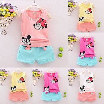 2016 new Summer Spring children girls clothing sets minnie mouse clothes bow tops shirt pants baby kids 2 pcs suit Free Shipping