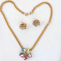 Vintage Necklace Earring Set Blue Pink Lilac Pink - Trifari Glass Flower Necklace and Avon Earrings -  Gold Tone Necklace and Earrings