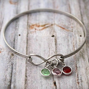 Wire Bangle - Mothers Gift - Grandmother Bracelet - Birthstone Jewelry - Infinity Bangle - Birthstone Jewelry - Kids