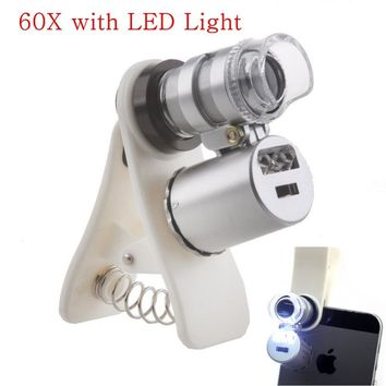 Apexel Universal 60x Zoom Mobile Phone Microscope Magnifier Camera Lens For iphone 6s PLUS 7Samsung Galaxy S6 S5 Xiaomi With LED