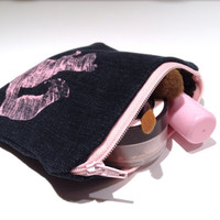 Zippered Squirrel Denim Coin Purse