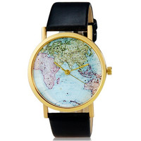 Women's Map Print Round Analog Watch with Faux Leather Strap (Black)