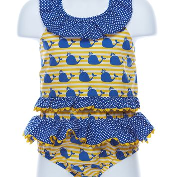 Three Sisters Whale Two Piece Girls Swimsuit