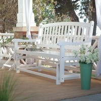 4 Ft. Outdoor Deck Porch Patio Garden Glider Bench Loveseat Furniture White Wood