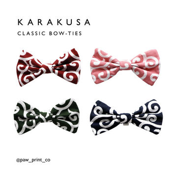 Pet Bow-tie, Classic bow-tie, Karakusa pattern, dog and cat bow-ties
