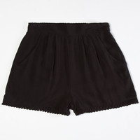Full Tilt Solid Crochet Trim Girls Shorts Black  In Sizes