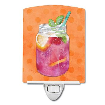 Mason Jar Cocktail Orange Polkadot Ceramic Night Light BB8253CNL