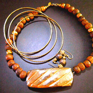 CADORO Wood Choker Necklace, Goldplating, 3 Bracelets, Earrings, Signed Vintage