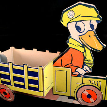 Vintage Duck Truck, Easter Candy Toy, Cardboard Duck Cart, Game Makers Toy, Easter Pull Toy