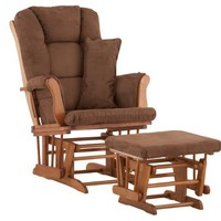 Stork Craft Tuscany Custom Glider and Ottoman with Free Lumbar Pillow, Oak/Chocolate