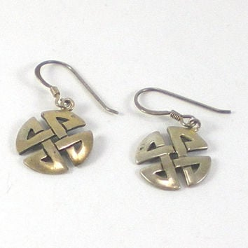 Vintage Small Celtic Cross Sterling Silver Pierced Dangle Earrings
