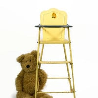 Vintage Doll High Chair, AMSCO High Chair, Metal Doll Chair, Vintage Metal Toy, Retro Toy Highchair, Yellow High Chair, Child's Furniture