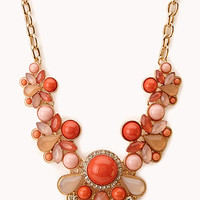 FOREVER 21 Bold Beaded Bib Necklace Gold/Coral One