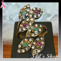 Authentic Turkish Ottoman Style Bronze Ring Encrusted With Emerald & Ruby Stones. Ring Number Is 8 In US Size.