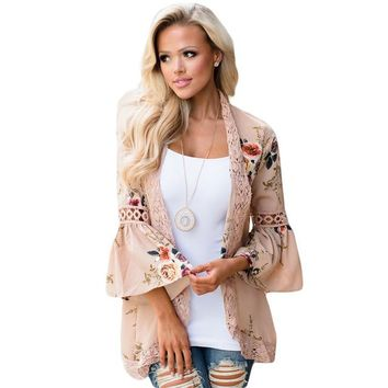 STYLEDOME Women Boho Floral Print Blouse Bell Sleeve Hollow Out Lace Patchwork Kimono Cardigan Chiffon Tops