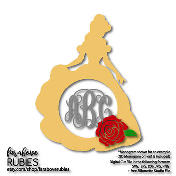 Princess Monogram Wreath (monogram NOT included) with Rose SVG, EPS, dxf, png, jpg digital cut file for Silhouette or Cricut