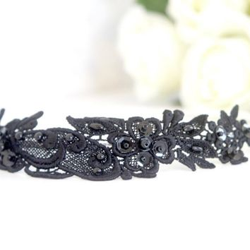 Black Beaded Lace Headband | Luulla
