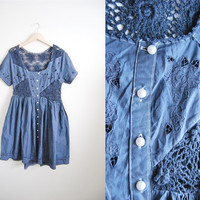 Row Your Boat  - Vintage Blue Crocheted Cutout Button Up Dress Sz. Large