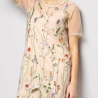 Pink Embroidery Floral Cami Lining Sheer Mesh Shift Mini Dress