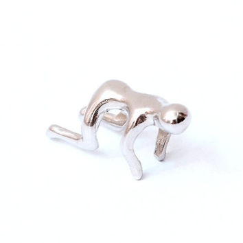 Tiny Homunculus Earring Ear Cuff Silver Tone CC24 Human Figure Man Metal Doll Clip on