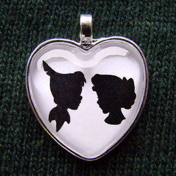 Peter Pan and Wendy Heart Silhouette Cameo Pendant Necklace