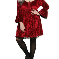 Red Velvet Bell Sleeve Dress Plus Size