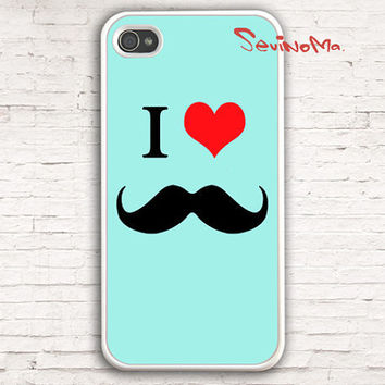 Mustache Iphone 4 Case, iPhone 4s Case, iPhone Case, I Love Mustache  iPhone 4 Hard Case