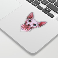 Sphynx cat portrait Sticker by Savousepate