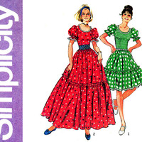 1970s Dress Pattern Uncut Bust 36 Simplicity 6452 Ruffled Full Skirt Maxi Western Square Dance Dress Costume Womens Vintage Sewing Patterns