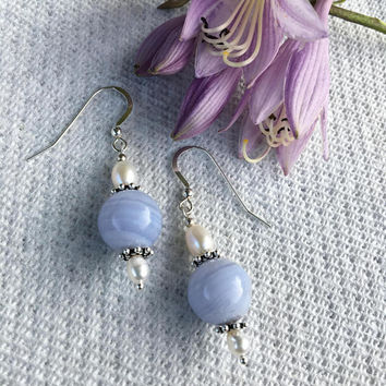 Blue Lace Agate and White Pearl Earrings Handmade Light Blue and White Beaded Drop Earrings Baby Blue Minimalist Office Style Jewelry