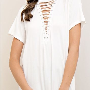 Front Lace Up T-Shirt - Ivory