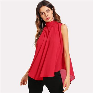 Mock Neck Pleated Front High Low Collar Sleeveless Chiffon Blouse