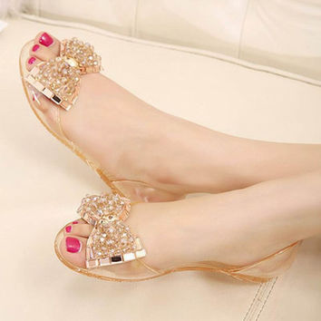 summer women sandals comfortable bow crystal jelly sandals lady flat shoes with rhinestones transparent plastic flats shoes