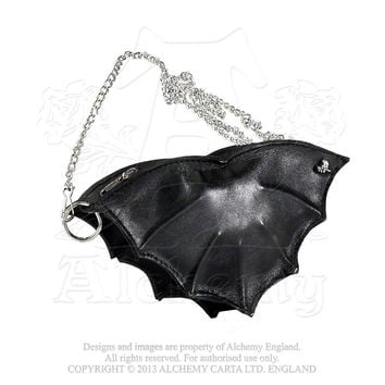 Black Vampire Bat Shaped Leather Small Purse Bag