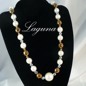 1970s LAGUNA 17 Inch Pearl, Gold & Silver Crystal Choker / Necklace
