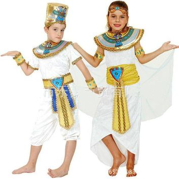 DCCKH6B Children Kids Halloween Costumes Boy Girl Ancient Egypt Egyptian Pharaoh Cleopatra Prince Princess Costume Cosplay fashion new